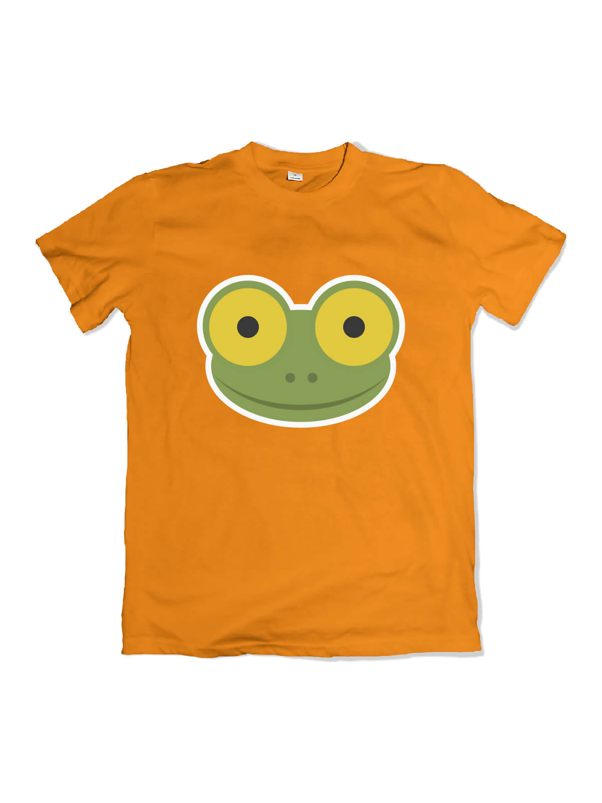 orange t-shirt with Mike the frog face