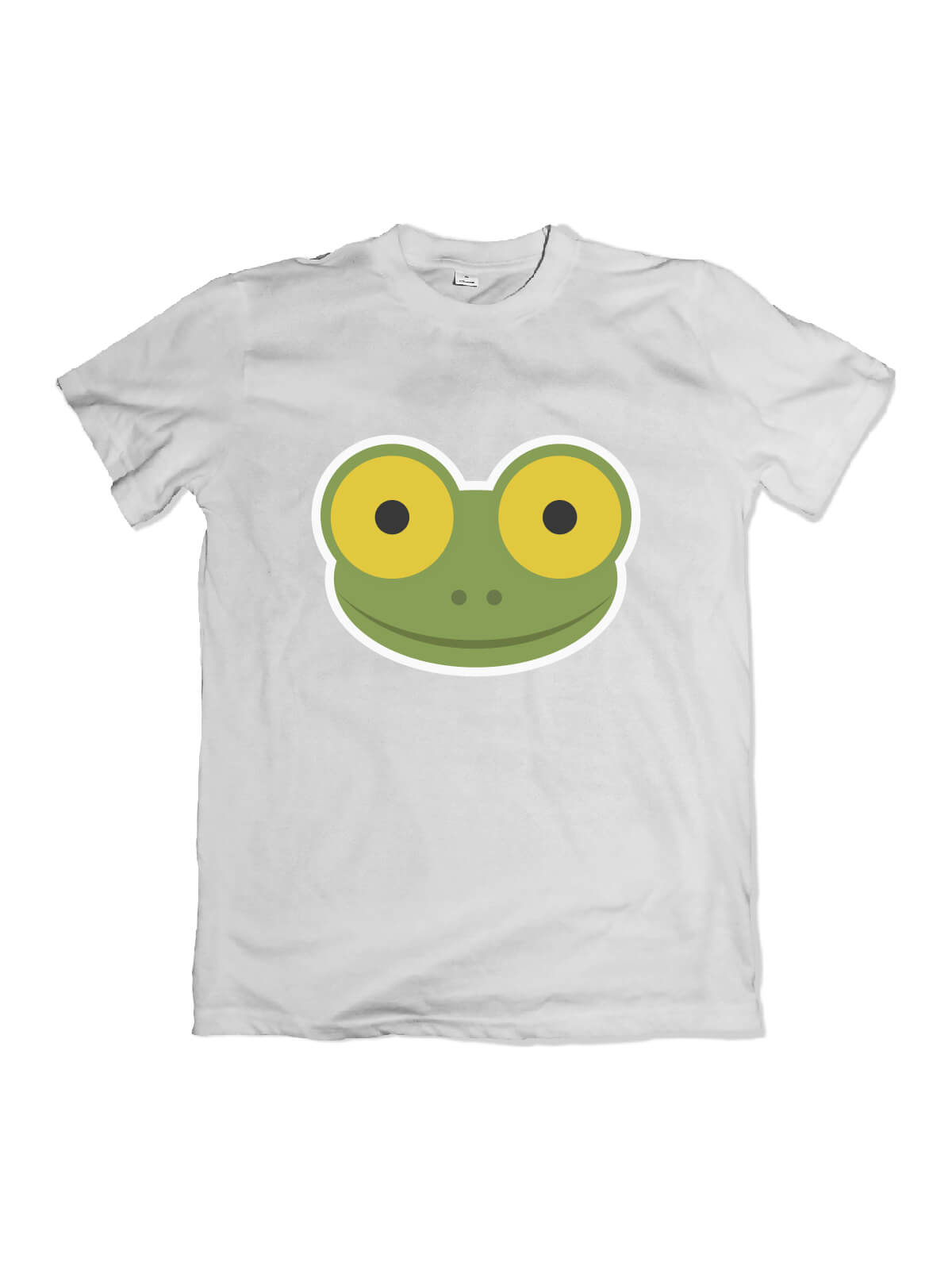white t-shirt with Mike the frog face
